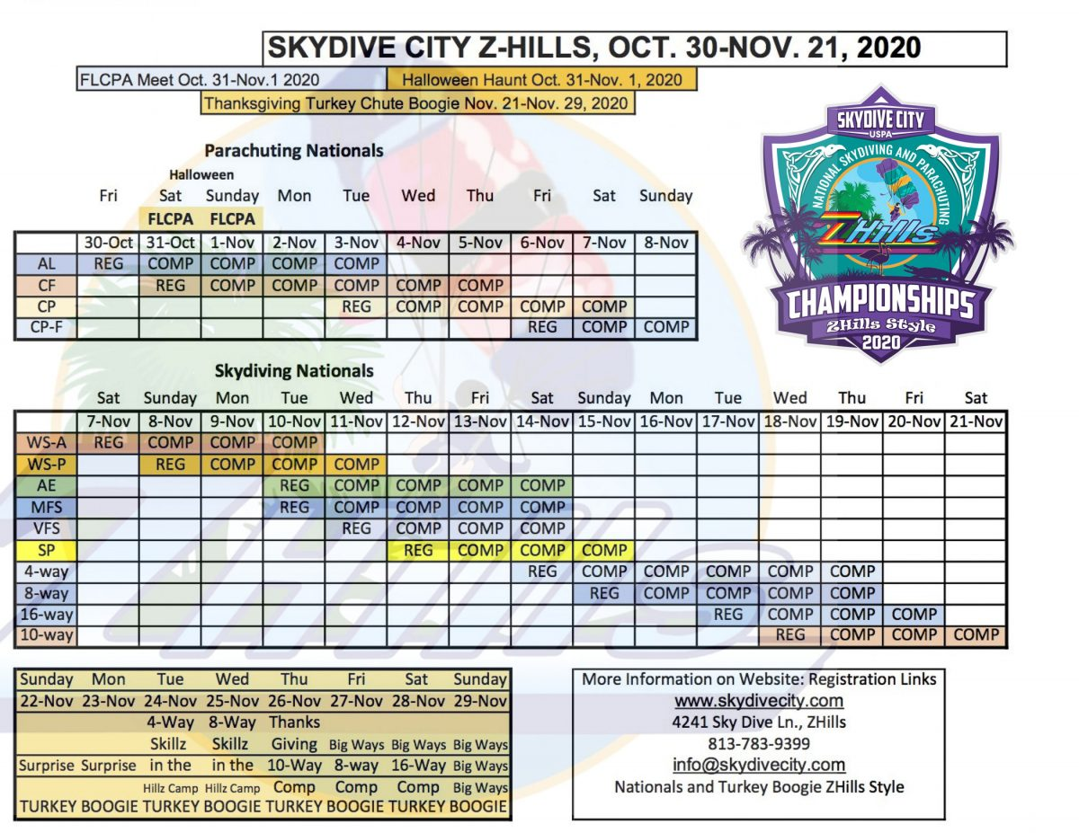 2020 Nationals Schedule