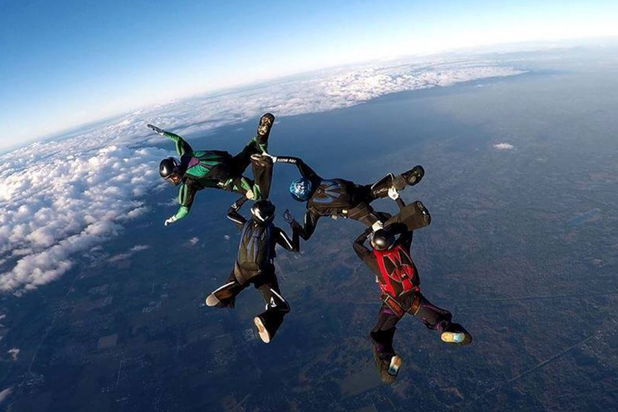 Experienced skydivers doing 4-way formation