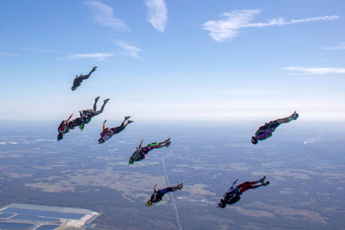 Experienced jumpers doing an Angle Dive formation at Skydive City Z-Hills.