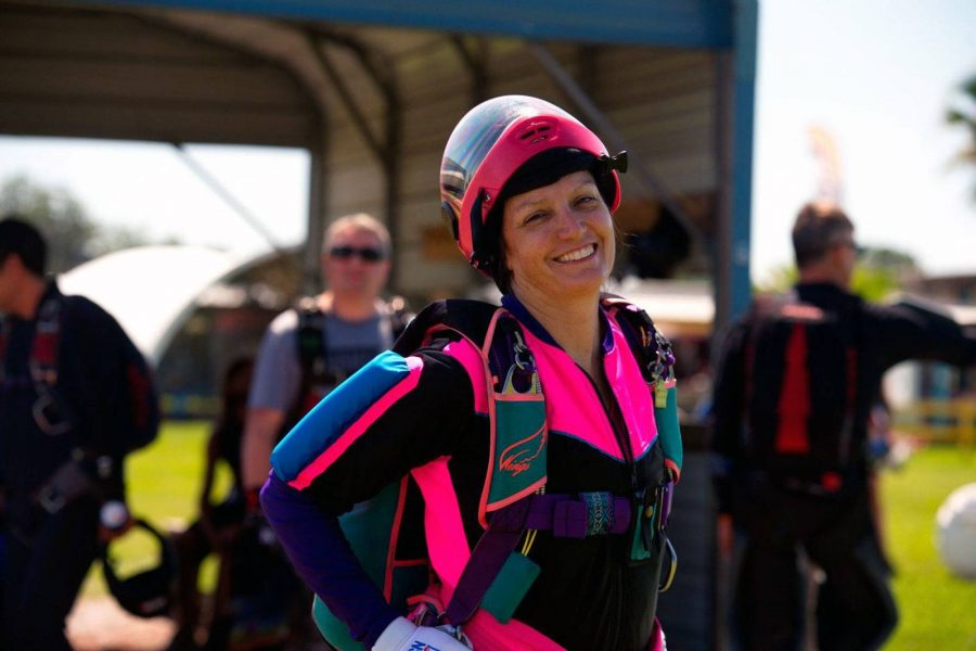 Annemarie Hammond wearing skydiving gear.