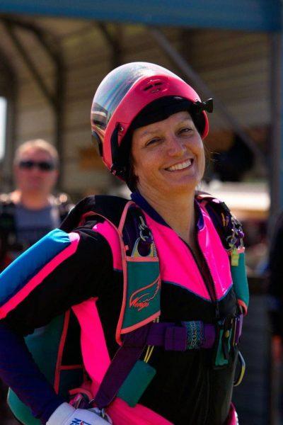 Annemarie Hammond wearing skydiving gear.