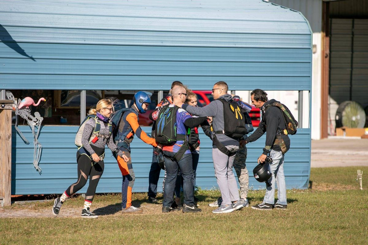 Experienced jumpers gathering together at Skydive City