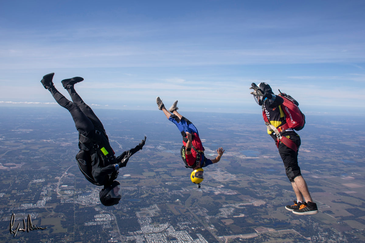 Experienced skydivers in free fall head down.