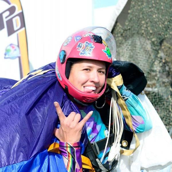 Lauren Gawlik holding parachute after skydiving Florida