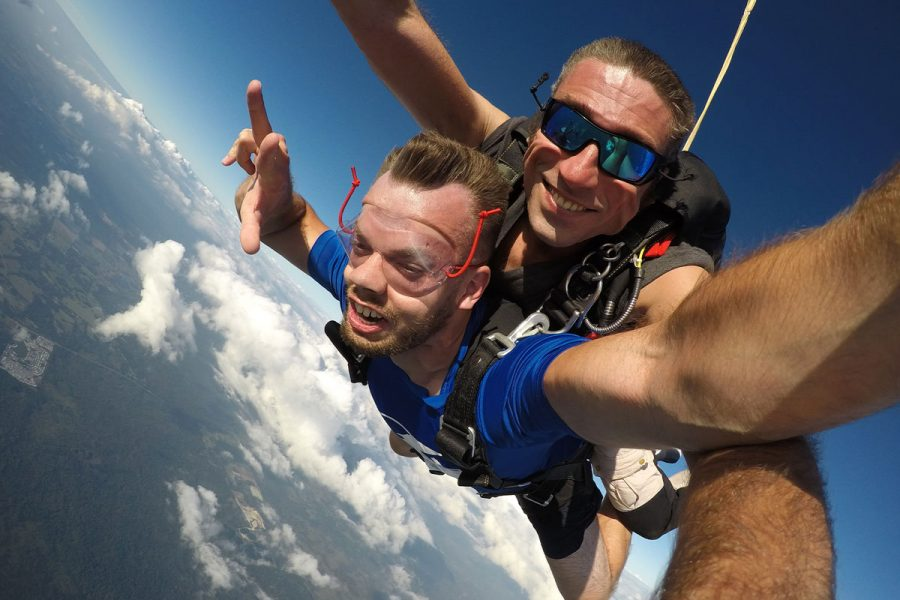 Instructor and student enjoying their skydive at Skydive City Z-Hills.