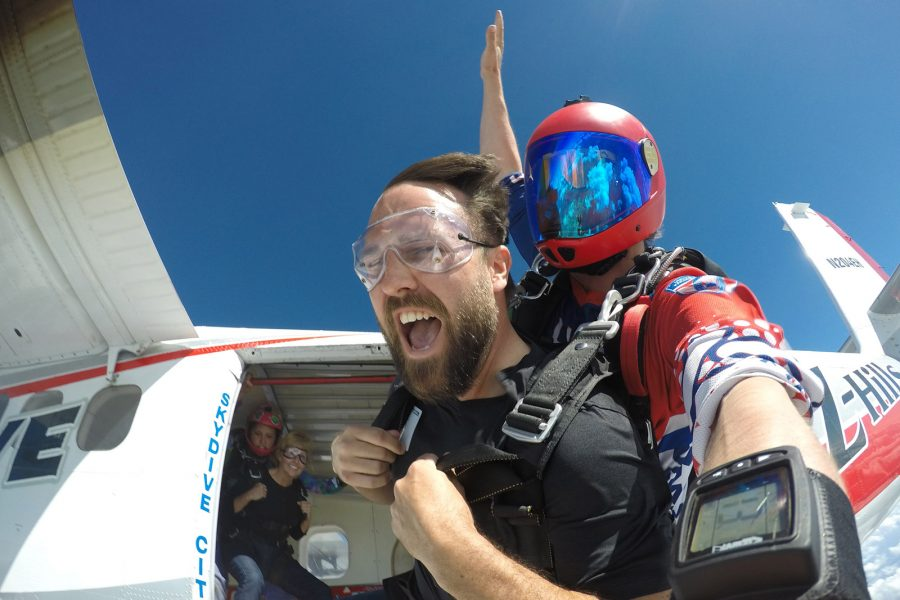Tandem student happy to be jumping with coach from Skydive City