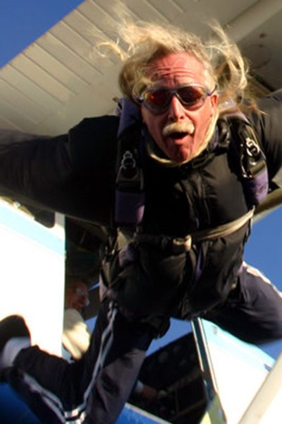 Billy Porter jumping from Skydive City aircraft.