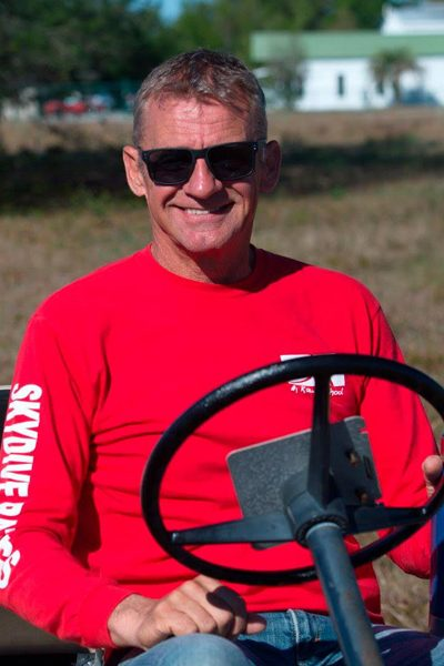 Bram Clement wearing red Skydive Rating shirt