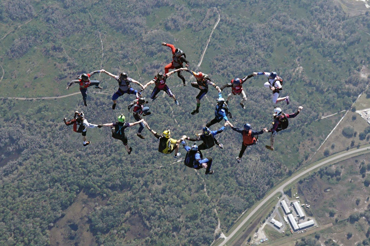 Experienced jumpers in formation at Skydive City Z-Hills.