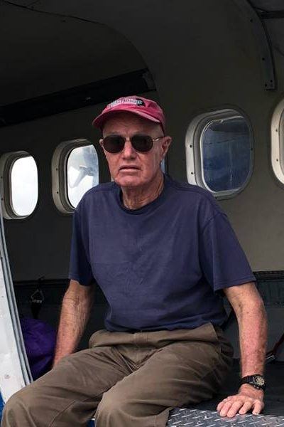 Keith May sitting on a Skydive City aircraft in Zephyrhills, Florida