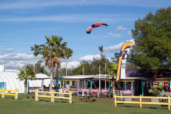 Experienced skydiver coming in for landing at Skydive City.