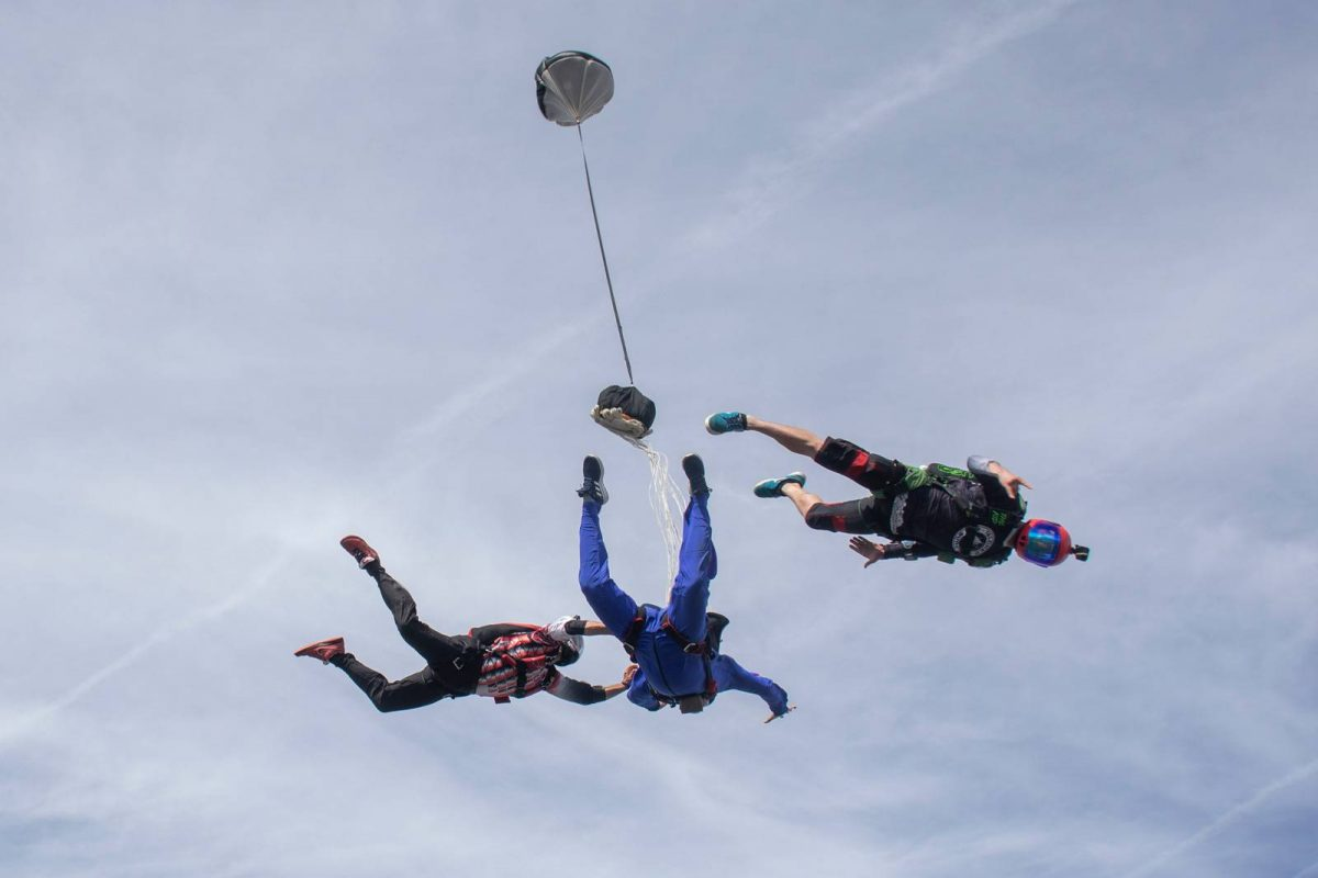 AFF Instructors and AFF Student in training during freefall at Florida's Best Skydiving School™