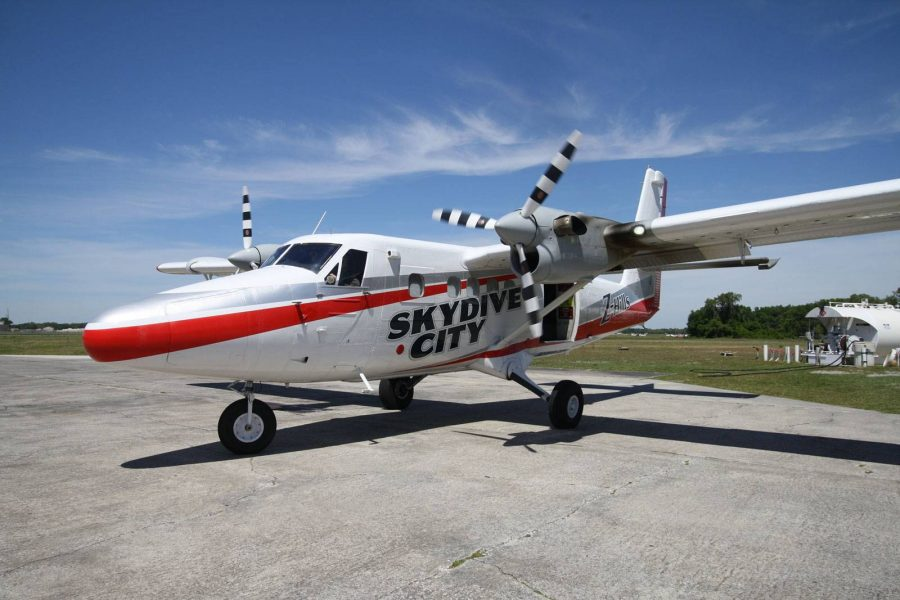Skydive City aircraft sitting on runway